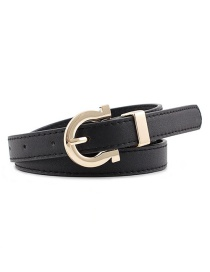 Fashion Black Alloy Buckle Thin Belt