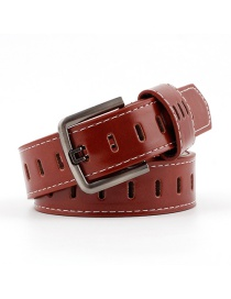 Fashion Red-brown Pin Buckle Hollow Hole Belt