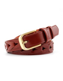 Fashion Red-brown Inlaid Triangle Pattern Hollow Pin Buckle Belt