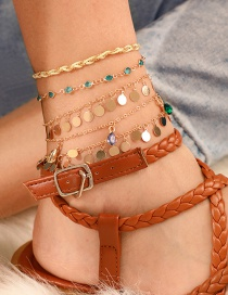 Fashion Gold Braided Wire Rope Alloy Round Diamonds Drop Anklet 5 Sets