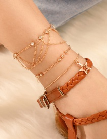 Fashion Gold Diamond Alloy Chain Hollow Star Beads 3 Layer Anklet
