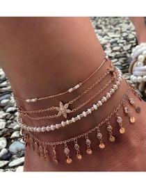 Fashion Gold Diamond Alloy Flower Round Mesh Beaded Anklet 4 Set