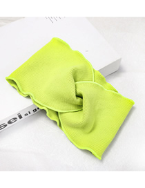Fashion Fruit Green Knitted Cross Hair Band Wide Knit Cross Hair Band