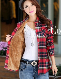 Fashion Red Yellow Green Plus Velvet Padded Plaid Shirt