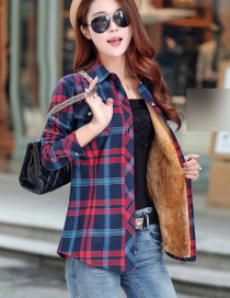Fashion Blue Red Plus Velvet Padded Plaid Shirt