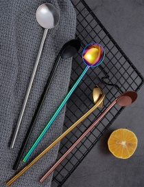 Fashion Black (single Pack) 304 Stainless Steel Straw Spoon (10 Pieces)