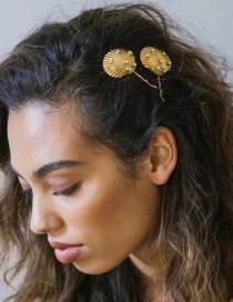 Fashion Shell Gold Metal Studded Clip