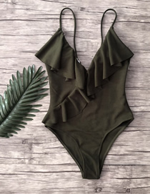 Fashion Army Green Ruffled One-piece Swimsuit