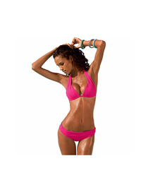 Fashion Rose Red Solid Color Split Swimsuit