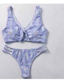 Fashion Purple Braided Chest Straps Split Swimsuit
