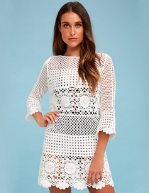 Fashion White Lace Openwork Blouse