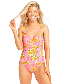 Fashion Pink Printed Ruffled Backless One-piece Swimsuit