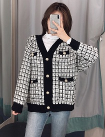 Fashion Black Small Incense Style Knitted Jacket