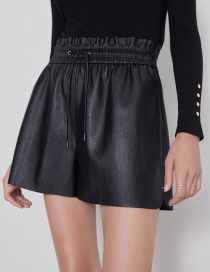Fashion Black Faux Leather Shorts
