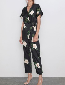 Fashion Black Printed Pair Of Jumpsuits
