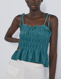 Fashion Green Pleated Top