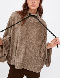 Fashion Brown Cape Style Oversized Bat Sleeve Sweater