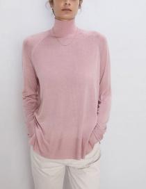 Fashion Pink Half-neck Sweater