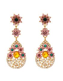 Pendientes Colgantes De Flores De Diamantes De Aleación