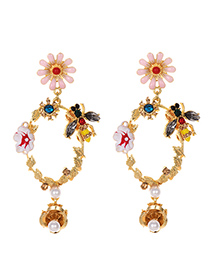 Fashion Pink Alloy Studded Bee Flower Earrings