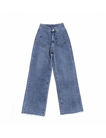 Fashion Jean Blue Front Pocket Straight Wide Leg Pants