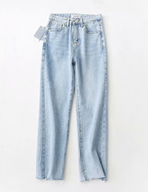Fashion Light Blue Washed High Waist Cuffed Jeans