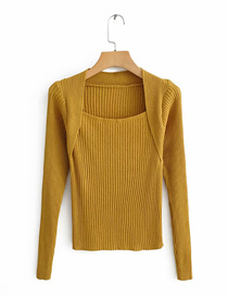 Fashion Ginger Yellow Solid Color Square Collar Fake Two-piece T-shirt