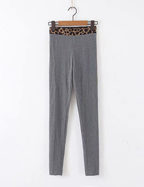 Fashion Dark Gray Leopard-trimmed Thread Cotton Straight Pants
