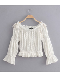 Fashion White One-shoulder Cotton Embroidered Shirt