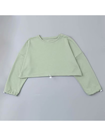 Fashion Green Solid Color Drawstring Round Neck Sweater