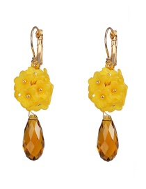 Fashion Yellow Stitching Floral Fringed Crystal Earrings