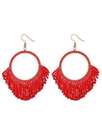 Fashion Red Mizhu Tassel Geometric Double Earrings