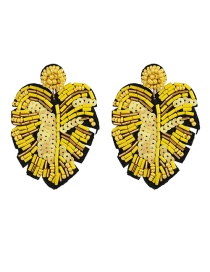 Fashion Yellow Leaf Rice Earrings