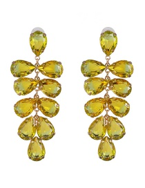 Fashion Yellow Colored Gemstone Metal Leaf Set With Crystal Earrings