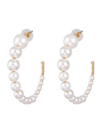 Fashion Gold C-shaped Size Pearl Earrings