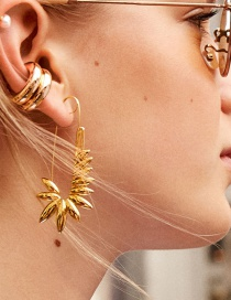 Fashion Gold Leaf Safety Pin Earrings
