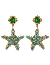 Fashion Green Starfish Pearl Earrings