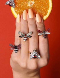 Fashion Red Black Little Bee Crystal Open Ring