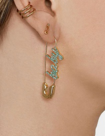 Fashion Blue Gold-plated Pin Earrings