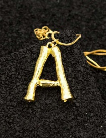 Fashion A Gold English Alphabet Necklace