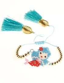 Fashion Blue Rice Bead Weave Cartoon Mermaid Tassel Bracelet  Beads