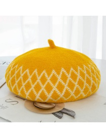 Fashion Yellow Velvet Colorblock Diamond Plaid Beret