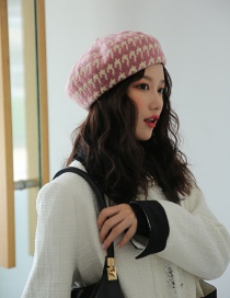 Fashion Pink Houndstooth Wool Beret