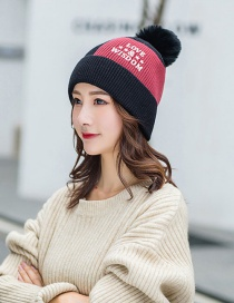 Fashion Black Plus Velvet Color Matching Love Knitted Hat
