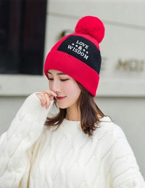 Fashion Red Plus Velvet Color Matching Love Knitted Hat