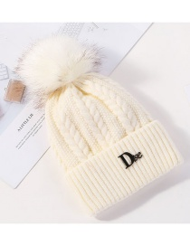 Fashion White Hair Ball Twist And Velvet Wool Cap
