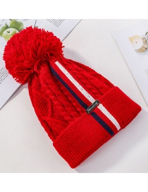 Fashion Red Double Color Matching Striped Knit Wool Hat