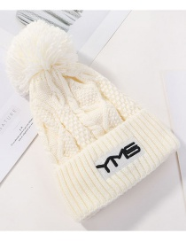 Fashion White Plush Embroidered Ym Wool Cap