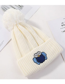 Fashion White Patch Cartoon Knit Wool Hat
