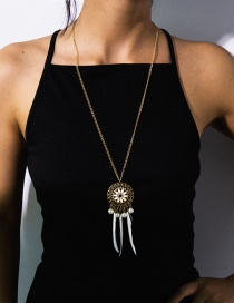 Fashion White Flower Pan Fringe Pearl Feather Necklace
